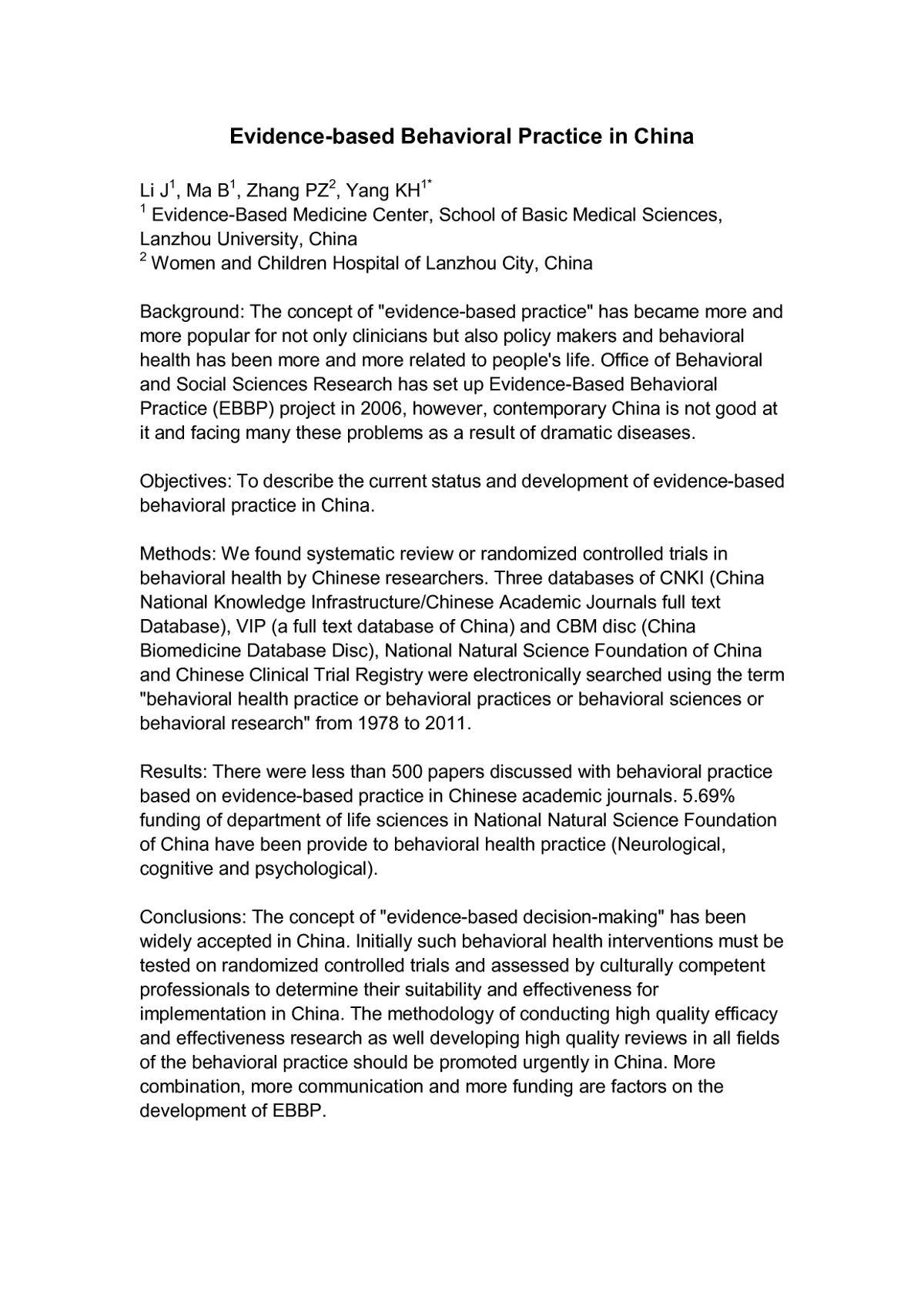 Evidence Based Behavioral Practice In China The 20th Cochrane